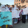 Stock Photo: Activists of Insaf Students Federation at chanting slogans against rape of five year old girl Sumbul in Lahore