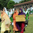 Teachers and students of Edward Collage are protesting against dual suicidal bomb blast attack on a church of Kohati Gate — Stock Photo