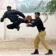 ������, ������: Elite Force Commandos of Police are showing their talent during 28th 29th passing out parade held at Razzaqabad Police Training Center