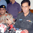 Additional Inspector General of Police, Shahid Hayat Khan Mehsood addresses to media person during a press conference at his office — Stock Photo