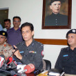 Additional Inspector General of Police, Shahid Hayat Khan Mehsood addresses to media person during a press conference at his office — ストック写真