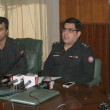 Stock Photo: Superintended of Police, City area, Faisal Bashir briefs to medipersons about arrested target killers and extortionist who detained during raids in several areas