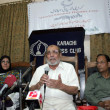 Karachi Psychological Hospital President, Dr. Mubeen Akhtar addresses to medipersons on occasion of Anti-Narcotics Day — стоковое фото #32984631
