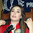 Renowned Pakistani film actress, ReemKhaddresses to medipersons during press conference — Stock Photo #32984639