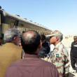 Frontier Corps Inspector General, Major Ejaz Shahid visits site after bomb explosion in Jaffar Express train — Stock Photo