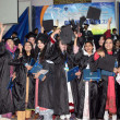Graduated students throwing their caps in air during celebrations on the occasion of Convocation-2013 held at Peshawar University — Stock Photo