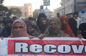 Members of Baloch Human Rights Organization are protesting against kidnapping of their beloveds as they blamed that law and enforcement agencies are involving their kidnapping — Stock Photo