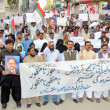 Activists of MuttehidQaumi Movement (MQM) chant slogans against Sindh Local Government Bill, during protest demonstration at Sukkur press club — Stock Photo #37535785