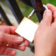 Royalty-Free Stock Photo: Man placing a lock on the fence during wedding