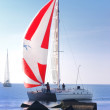 White yacht sailing - Stock Photo