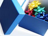 şerit çiçekli mavi hediye kutusu — Stok fotoğraf
