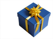 Blue present with yellow ribbon — Stock Photo
