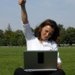 Yeah - thumbs up - Woman is pleased with success — Stock Photo