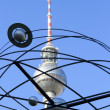 TV Tower and World Clock in Berlin - Stockfoto