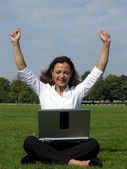 Finally done - Woman is pleased with the end of her work — Stock Photo