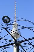 Torre della tv e mondo orologio a berlino — Foto Stock