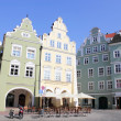 Renovated gabled houses in Landshut, Germany — Stock Photo