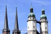 Four church towers in Halle (Saale), Germany — Stock Photo