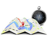 City map with compass — Stock Photo