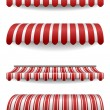 Detailed illustration of set of striped awnings — Stock Vector #17986481