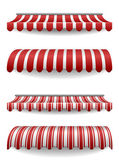detailed illustration of set of striped awnings — Vector de stock