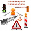 Traffic and construction icons — Stock Vector