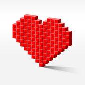 Pixel heart perspective — Stock Vector
