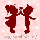 Couple with hearts — Cтоковый вектор