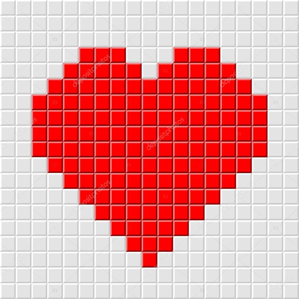 Detailed illustration of a pixel heart, internet dating concept  Stock Vector #18198377