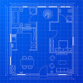 Blueprint floorplan — Stock Vector