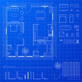 Blueprint elements — Stock Vector