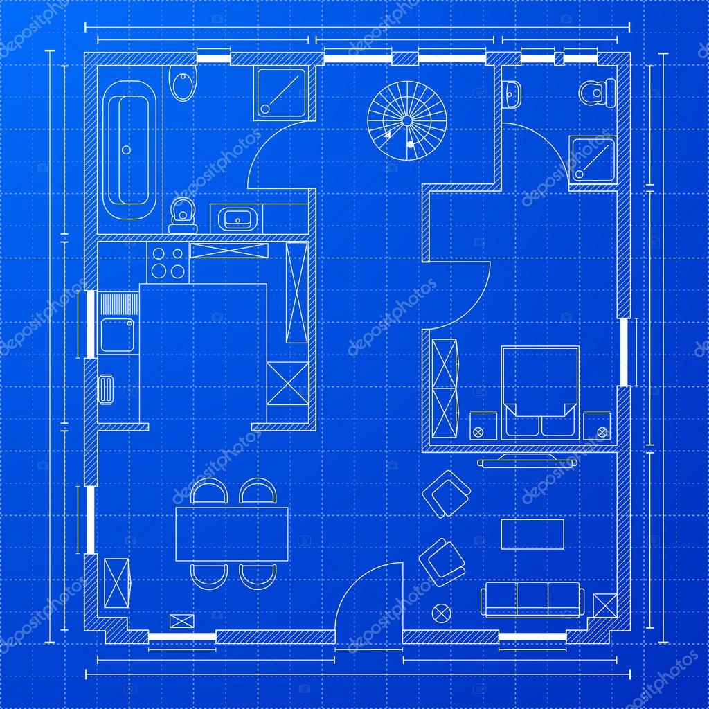 Blueprint floorplan stock vector unkreatives 19800745