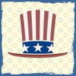 American flag retro themed hat on grungy background — Stock Vector