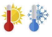 Thermometer snow sun — Stock Vector