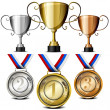Stock Vector: Medals and trophies