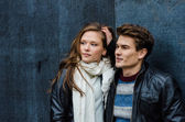 Couple In Winter Clothing Looking Away — Stock Photo