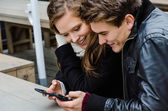 Loving Couple Using Mobile Phone At Bench — Stock Photo