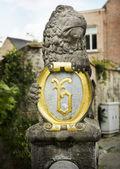 Lion holding Crest — Stock Photo
