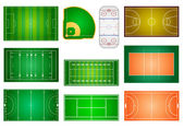 Sport fields and courts — Stock Vector