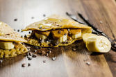 Banana Pancakes Wit Choco Chips On Table — Stock Photo