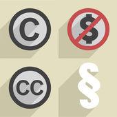 Flat style copyright set — Stock Vector