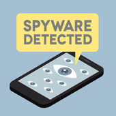 Phone spyware alert — Stock Vector