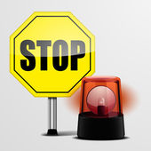 Stop Sign with Flashing Light — Stock Vector
