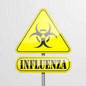 Yellow Influenza Warning Sign — Stock Vector