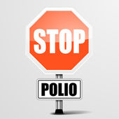 Red polio Stop Sign — Stock Vector