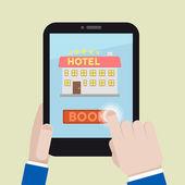 Book hotel room — Stock Vector