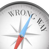 Compass wrong way — Stock Vector