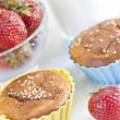 Cupcake sprinkled with sesame seeds — Stock Photo