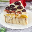 Homemade cake with sweet cherries — Stockfoto