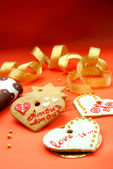 Two heart shape cookies — Stok fotoğraf